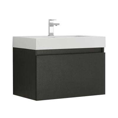 Mezzo 30 in. Modern Wall Hung Bath Vanity in Black with Vanity Top in White with White Basin