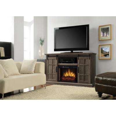 Colton 55 in. W Freestanding Infrared Electric Fireplace TV Stand with Sliding Door in Aged Oak