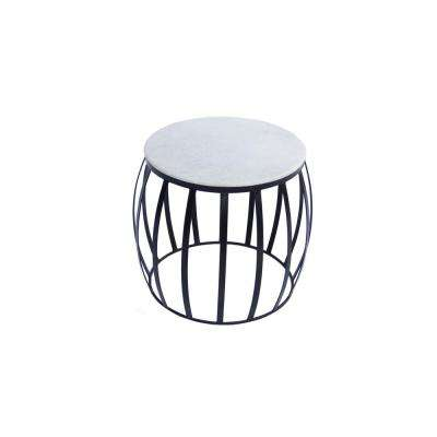 White Sophisticated Marble Top with Iron Base Side Table