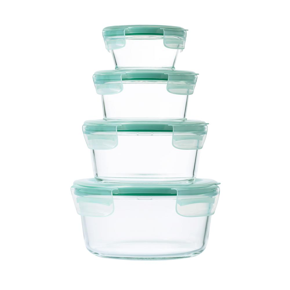 OXO Good Grips 8-Piece Smart Seal Glass Round Container Set  sc 1 st  The Home Depot : oxo food storage  - Aquiesqueretaro.Com