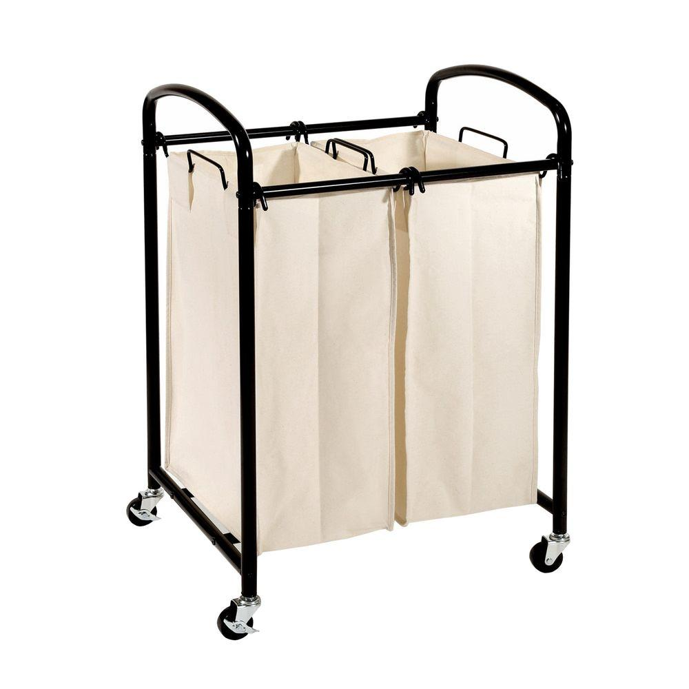 Seville Classics 2-Bag Laundry Sorter Cart in Black
