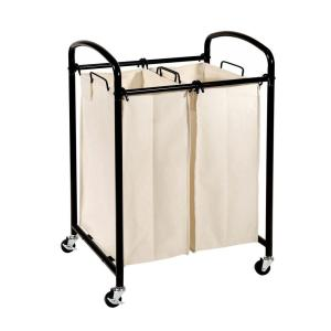 2-Bag Laundry Sorter Cart in Black