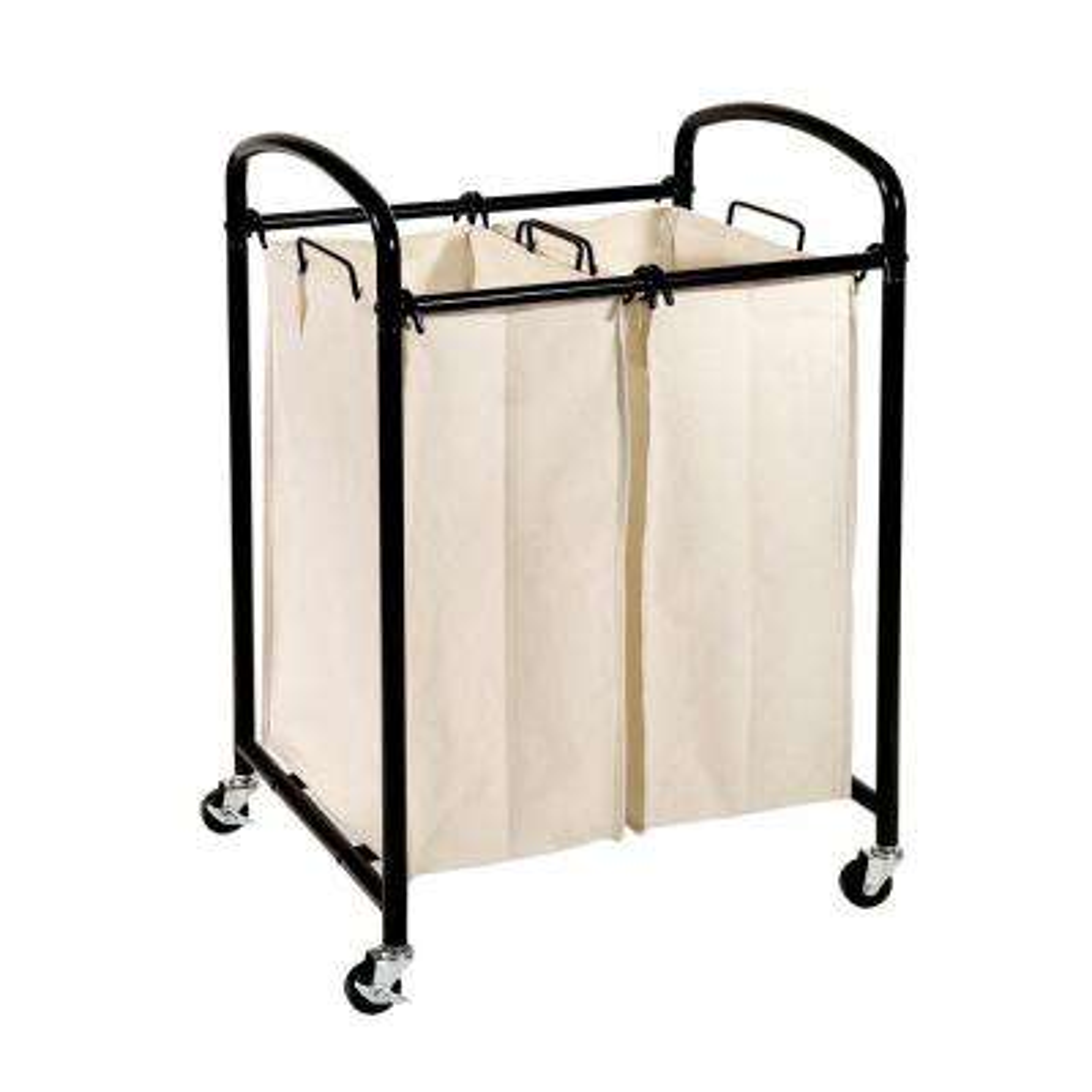 2-Bag Laundry Sorter Cart in Black