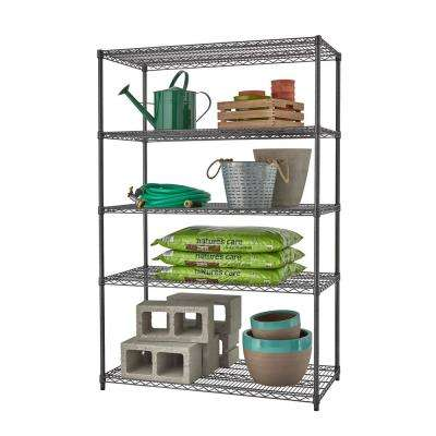 PRO 24 in. x 48 in. x 72 in. Black Anthracite 5 Tier Garage Shelving Unit