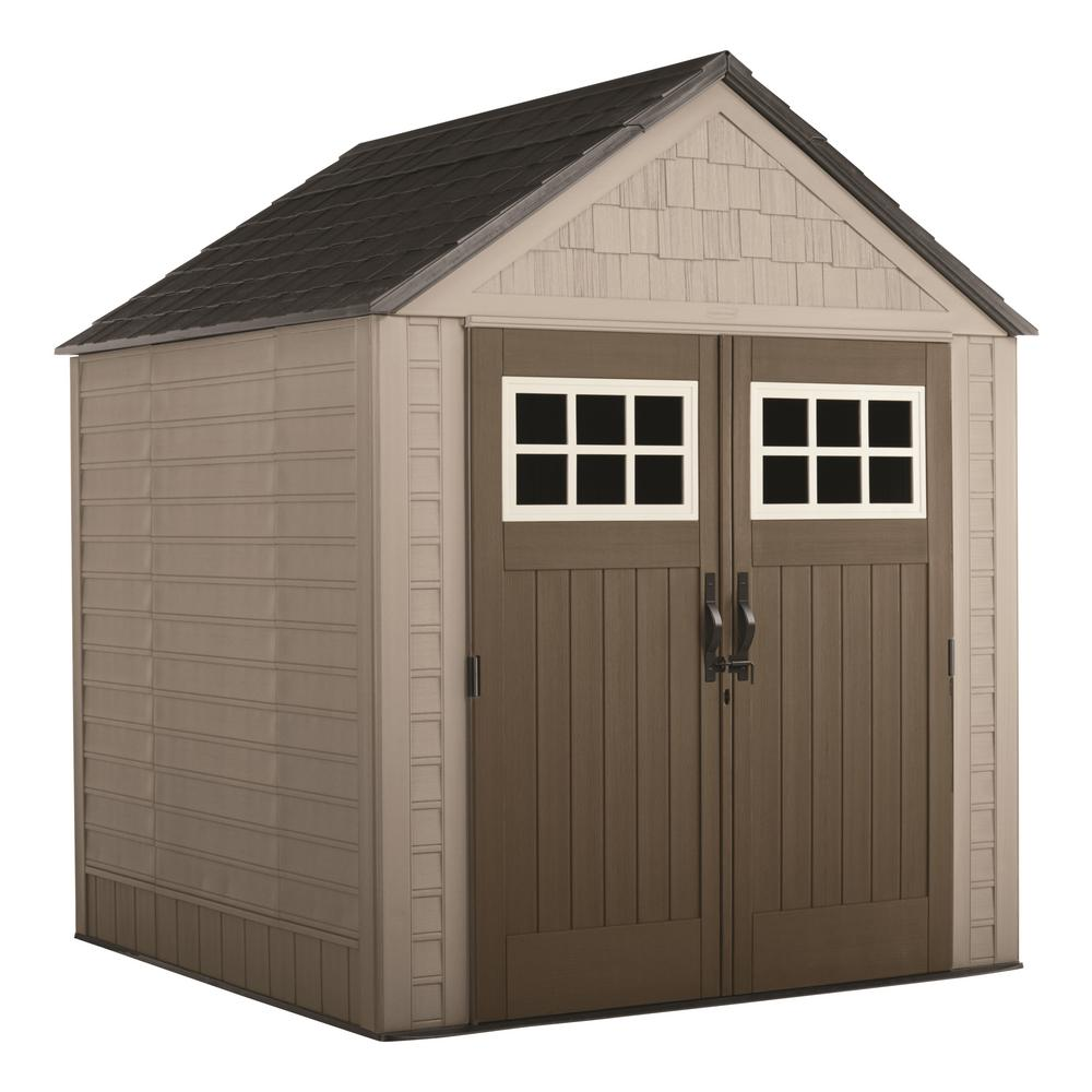 rubbermaid big max 7 ft. x 7 ft. storage shed with shelving unit