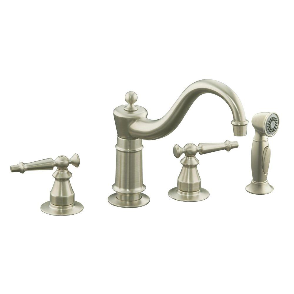 Nickel Double Handle Standard Spout Faucets Kitchen Faucets