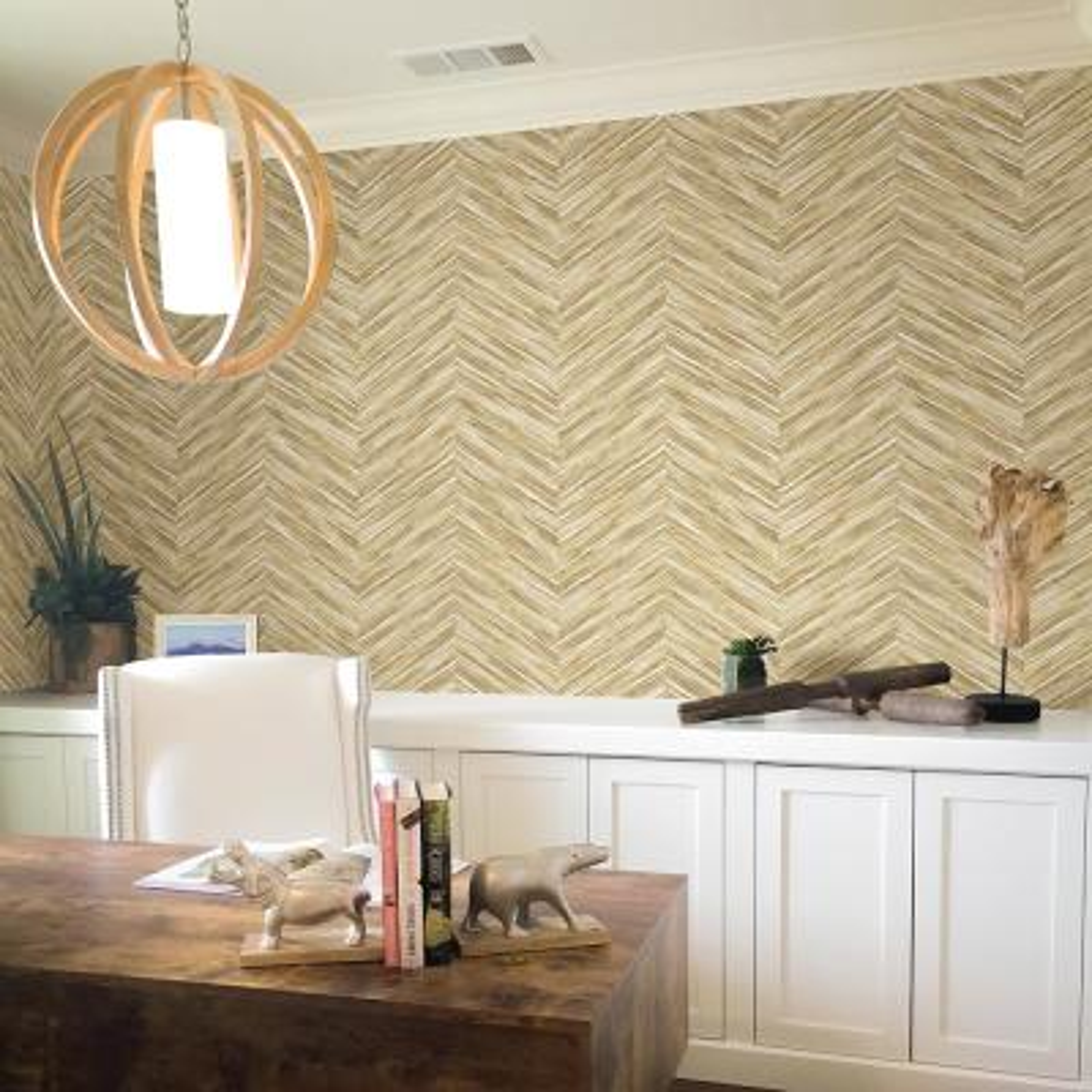 56.4 sq. ft. Pina Brown Chevron Weave Wallpaper