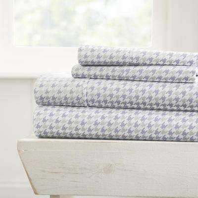 Hounds Tooth Patterned 4-Piece Light Gray Queen Performance Bed Sheet Set