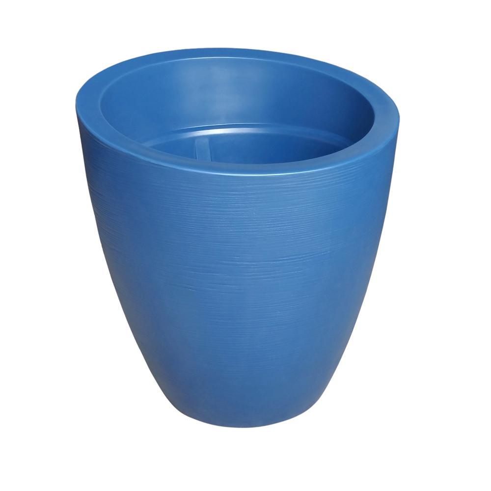 Modesto 30 in. Round Neptune Blue Plastic Planter