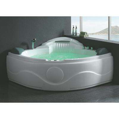 61 in. Acrylic Offset Drain Corner Apron Front Whirlpool Bathtub in White