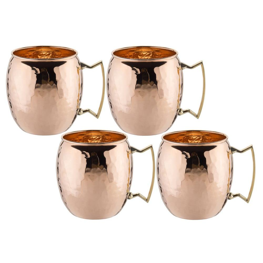 16 oz. Solid Copper Hammered Moscow Mule Mug with Unlined Non-Lacquered
