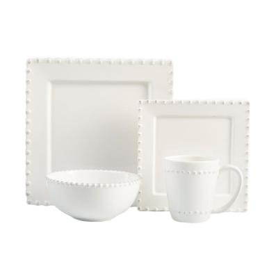 16-Piece White Bianca Bead Square Dinnerware Set