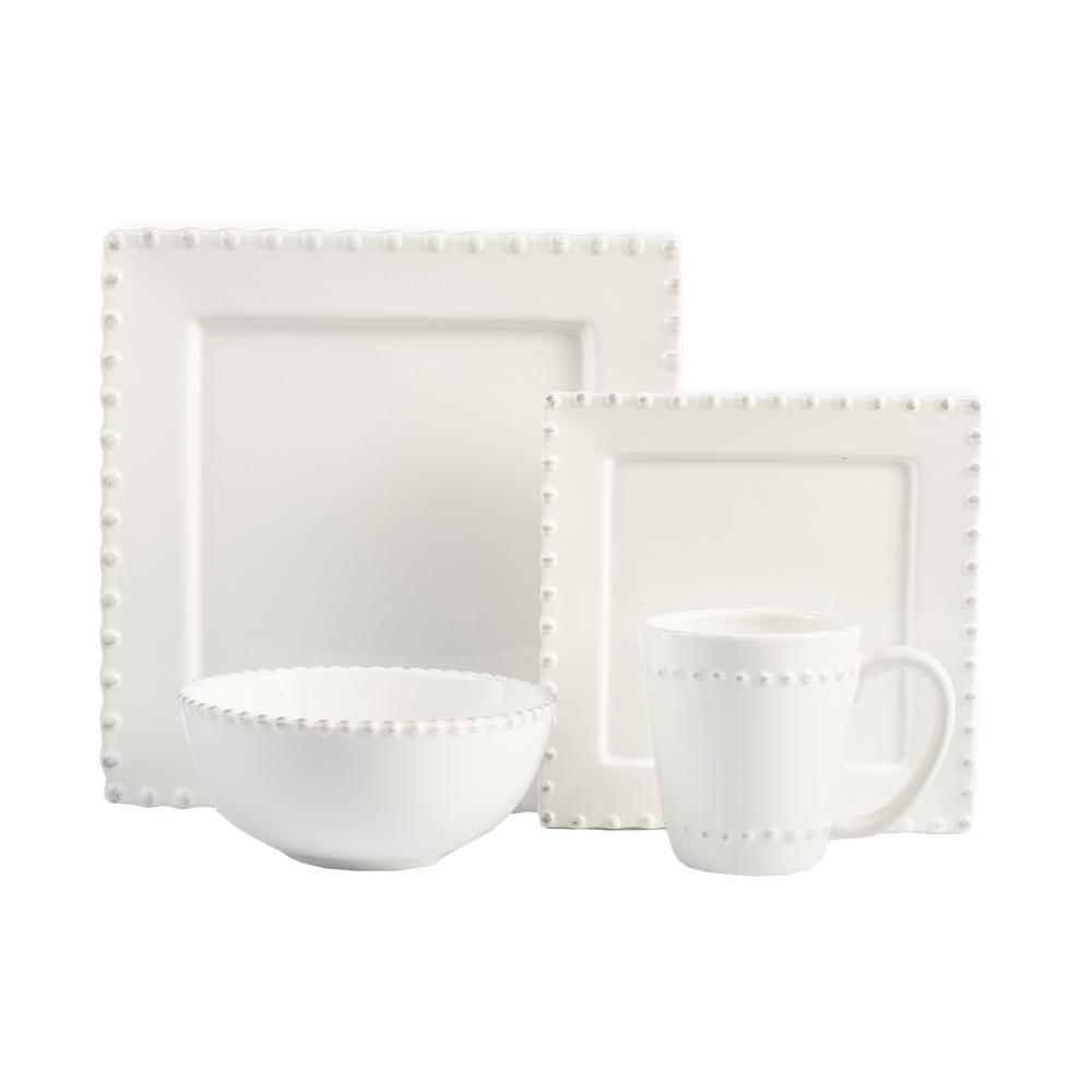 16-Piece White Bianca Bead Square Dinnerware Set
