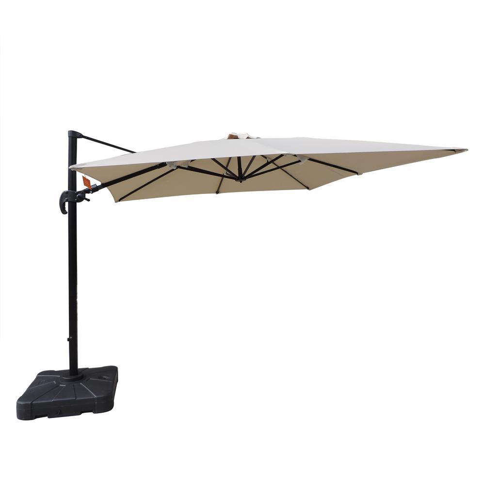 Santorini II 10 ft. Square Cantilever Patio Umbrella in Beige Sunbrella Acrylic