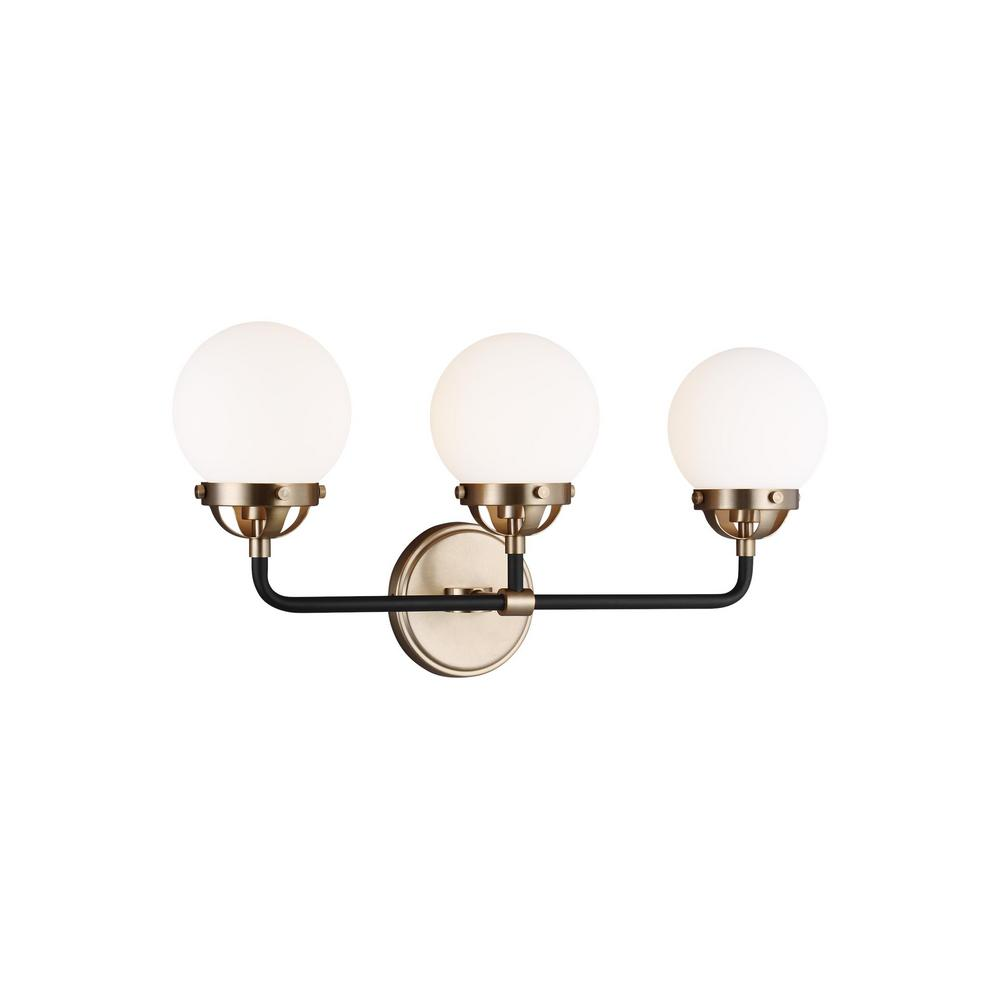 Cafe 5 in. 3-Light Satin Brass Vanity Light with Etched/White Glass Shades