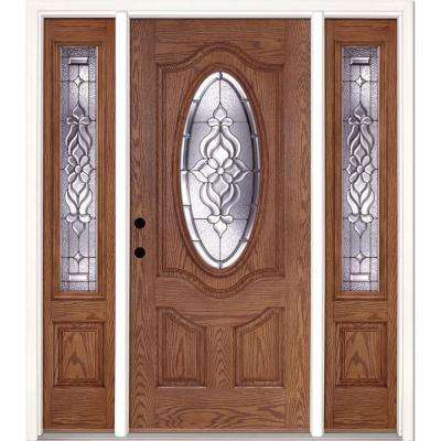 67.5 in.x81.625 in. Lakewood Zinc 3/4 Oval Lite Stained Medium Oak Right-Hand Fiberglass Prehung Front Door w/ Sidelites