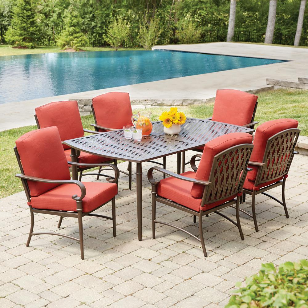 Hampton Bay Oak Cliff 7 Piece Metal Outdoor Dining Set With 6 Stationary Chairs And Chili Cushions 176 411 7d V2 The Home Depot
