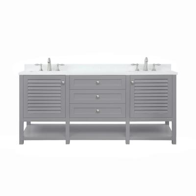 Grace 72 in. W x 22 in. D Bath Vanity in Pebble Grey with Cultured Marble Vanity Top in White with White Basins