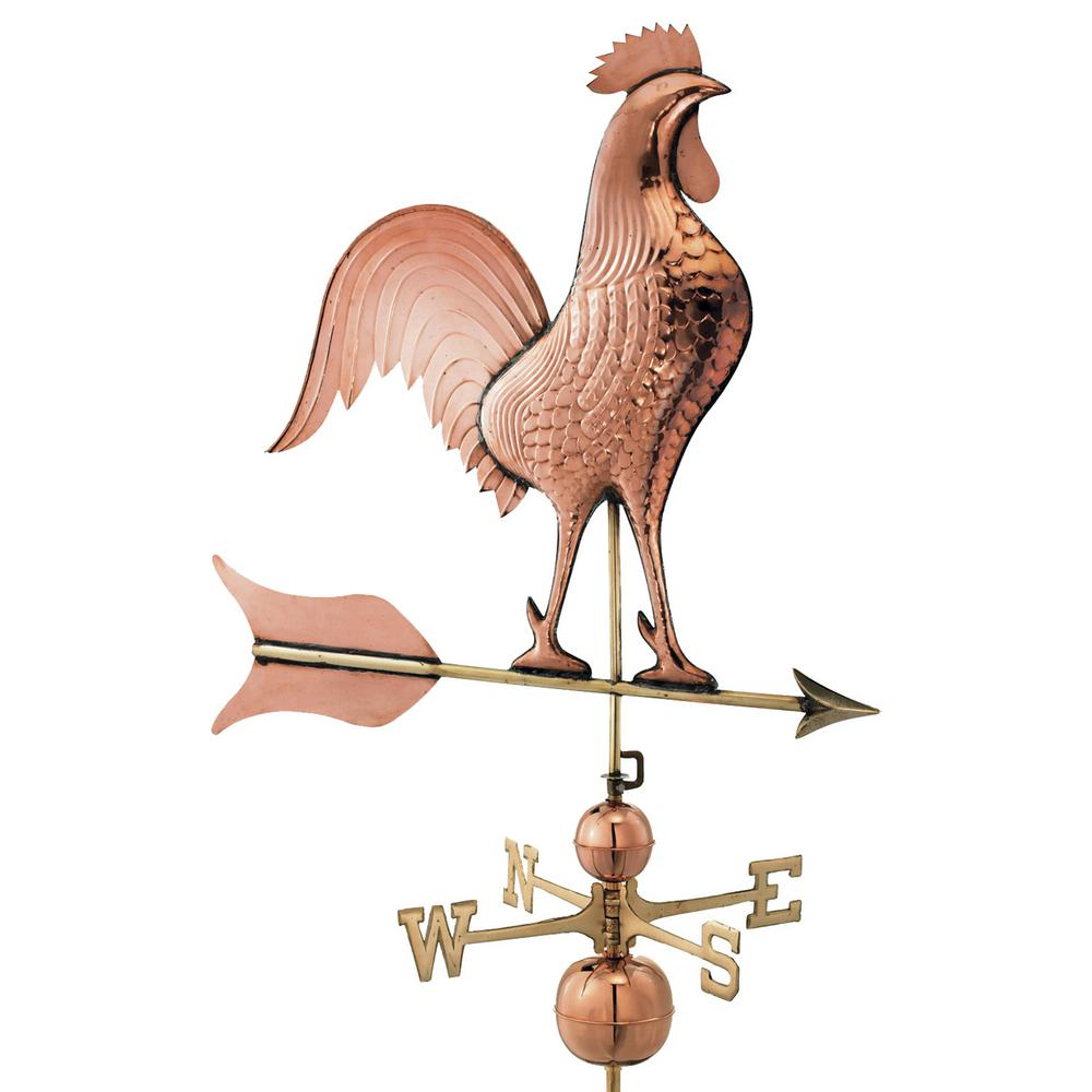 Architectural & Garden Antique Large Copper Rooster Weathervane With Directional