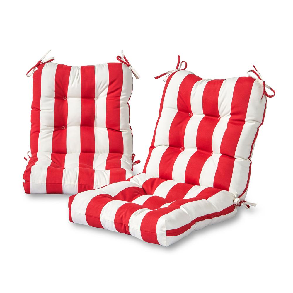 Cabana Stripe Red Outdoor Dining Chair Cushion 2 Pack