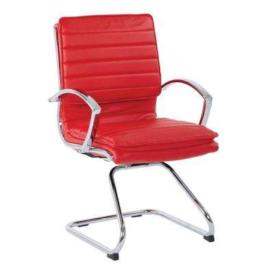 Guest Faux Leather Chair in Red with Chrome Base