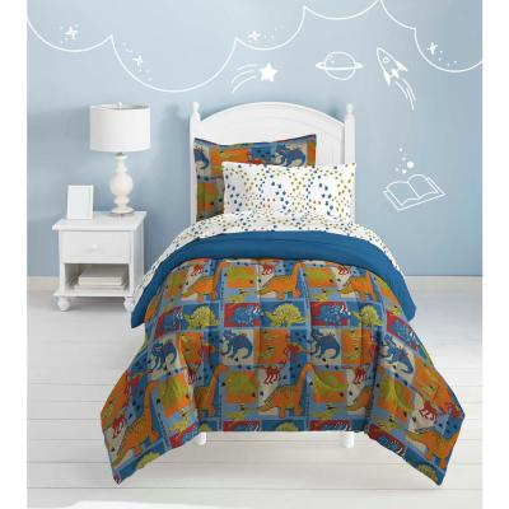Dinosaur Blocks 5-Piece Blue Twin Comforter Set