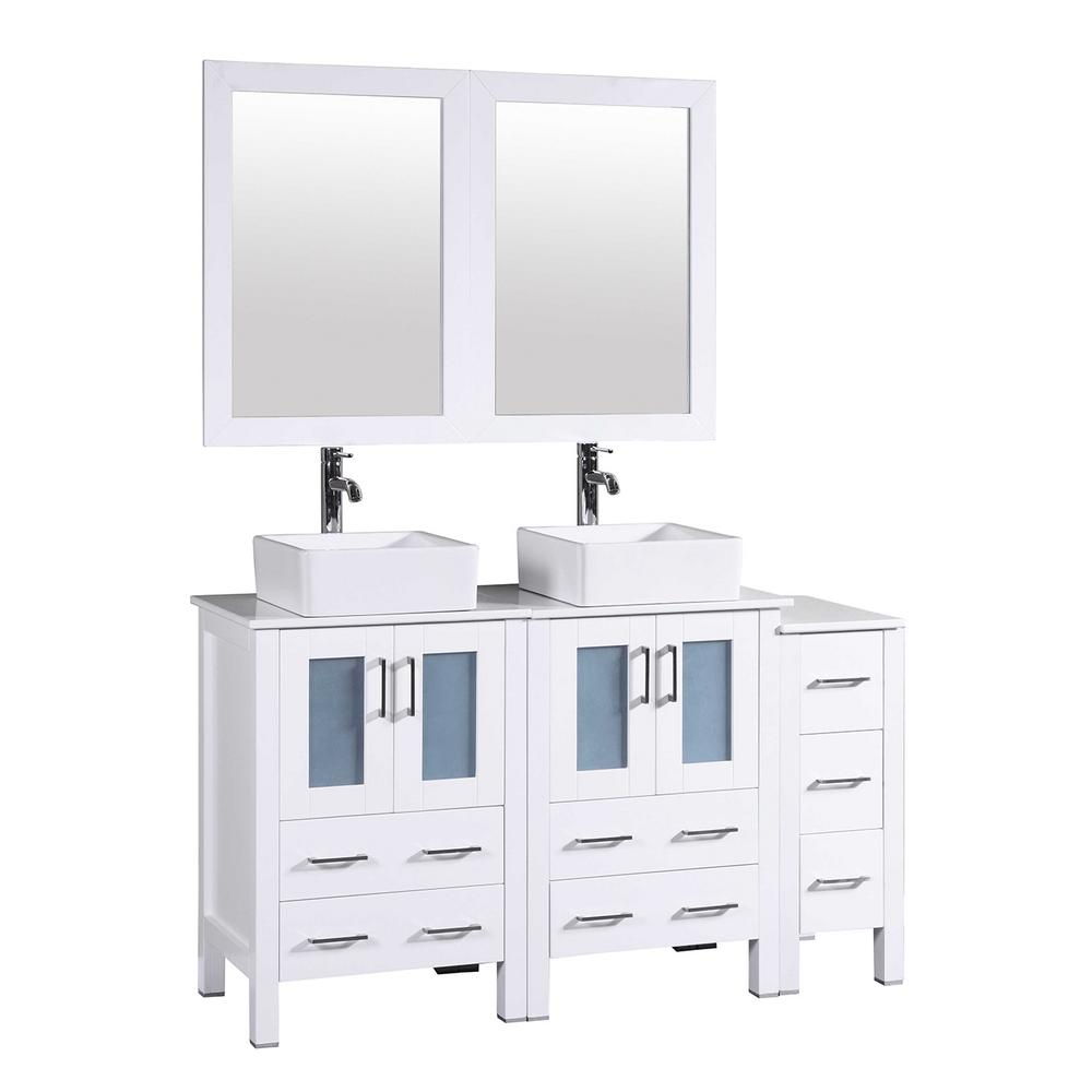 Bosconi 60 in. Double Vanity in White with Pheonix Stone Vanity Top in White with White Basin Polished Chrome Faucet and Mirror