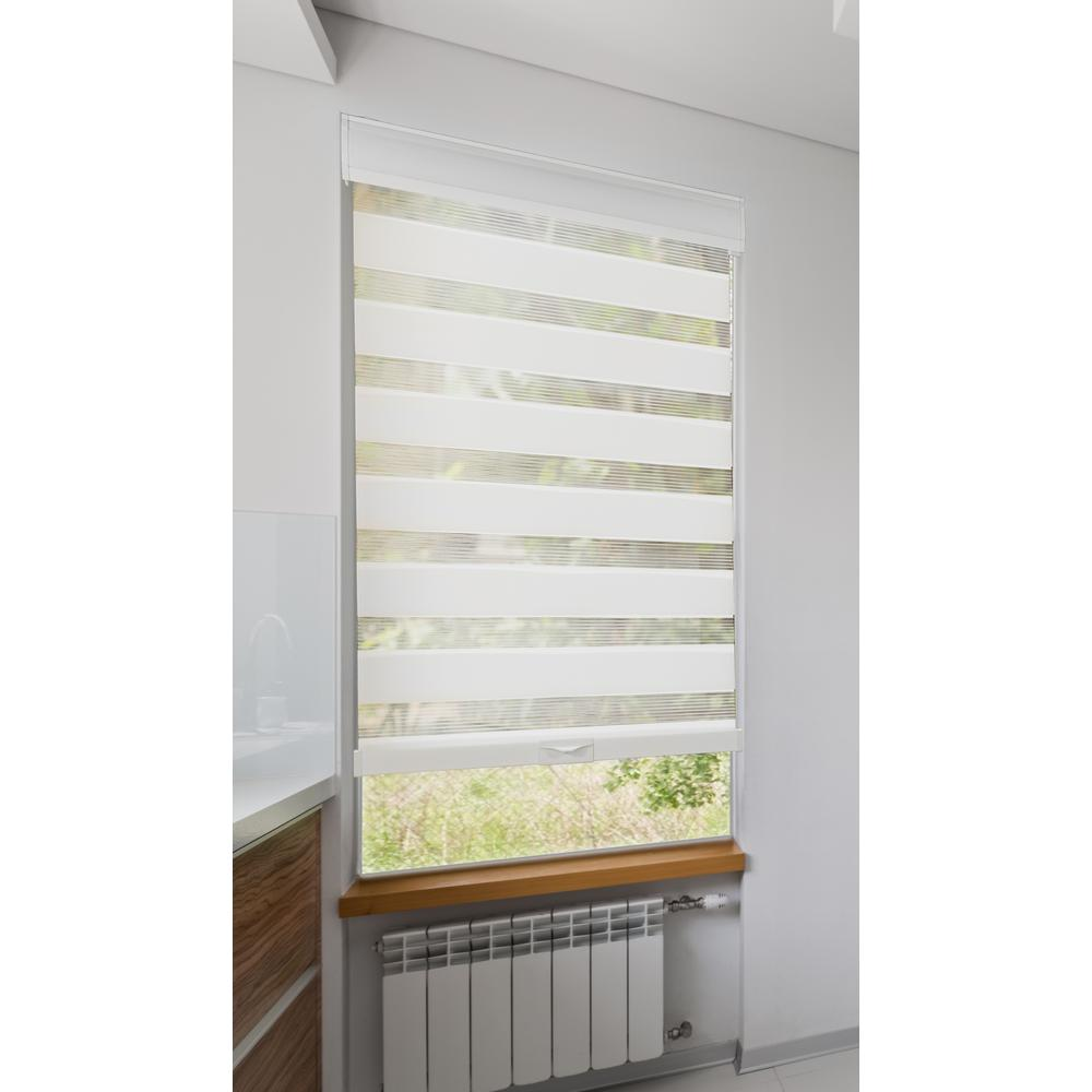 34 In W X 72 In L Cordless White Zebra Roller Shade