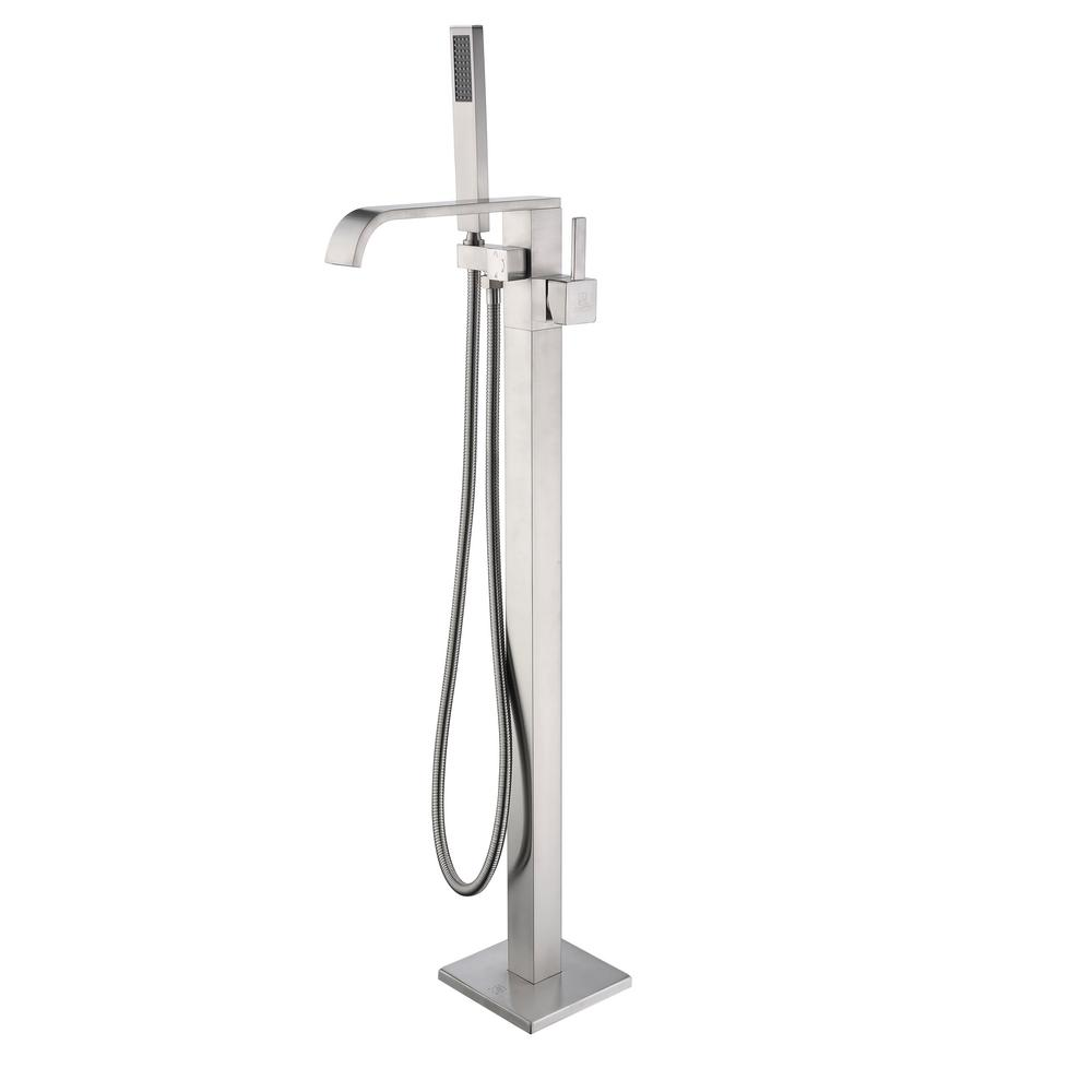 Angel 2-Handle Claw Foot Tub Faucet with Hand Shower in Brushed