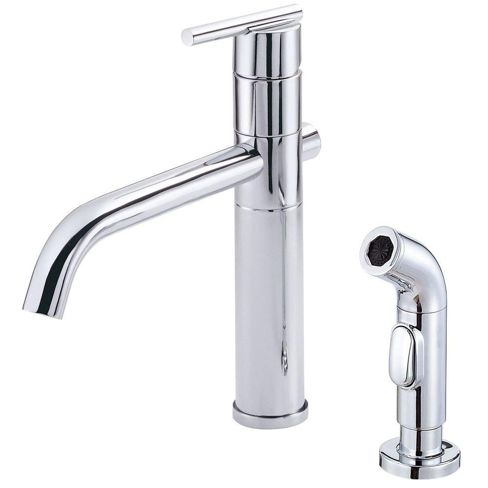 down en danze rinse faucets foodiecaliente product pull faucet single caliente kitchen handle pre b foodie
