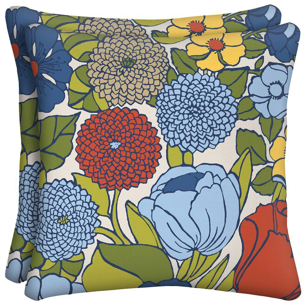 Hampton Bay Ruthie Floral Square Outdoor Throw Pillow (2-Pack)