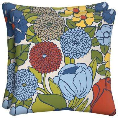 Ruthie Floral Square Outdoor Throw Pillow (2-Pack)