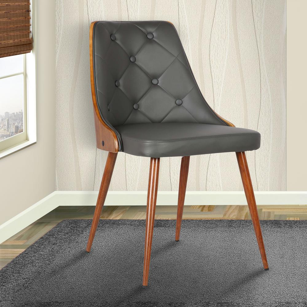 Gray Faux Leather And Walnut Wood Finish Mid Century