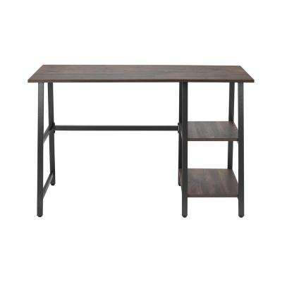 StyleWell Dark Ash Finish Wood Writing Desk with Shelves (47.7 in. W x 29 in. H)