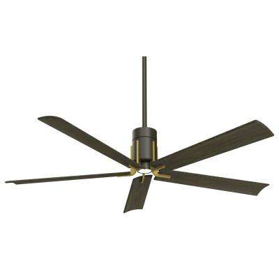 Clean 60 in. Integrated LED Indoor Oil Rubbed Bronze with Toned Brass Ceiling Fan with Light with Remote Control