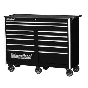 International Pro Series 54 inch 12-Drawer Roller Cabinet Tool Chest in Black by International