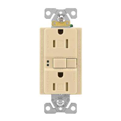 GFCI Self-Test 15A -125V Tamper Resistant Duplex Receptacle with Standard Size Wallplate, Ivory
