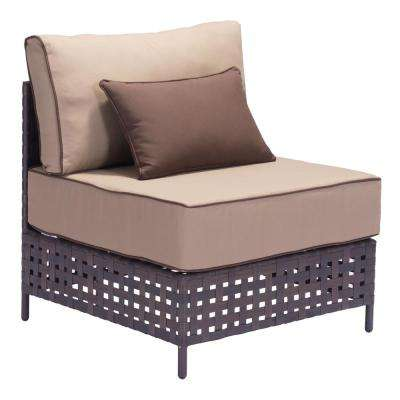 Pinery Wicker Armless Middle Outdoor Patio Sectional Chair with Beige Cushion