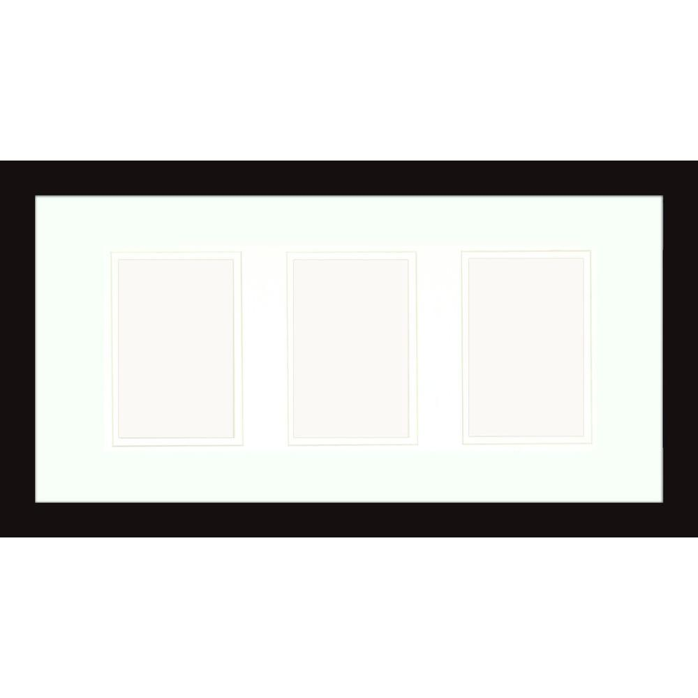 PTM Images 3-Opening 4 in. x 6 in. Matted Black Photo Collage Frame (Set of 2)