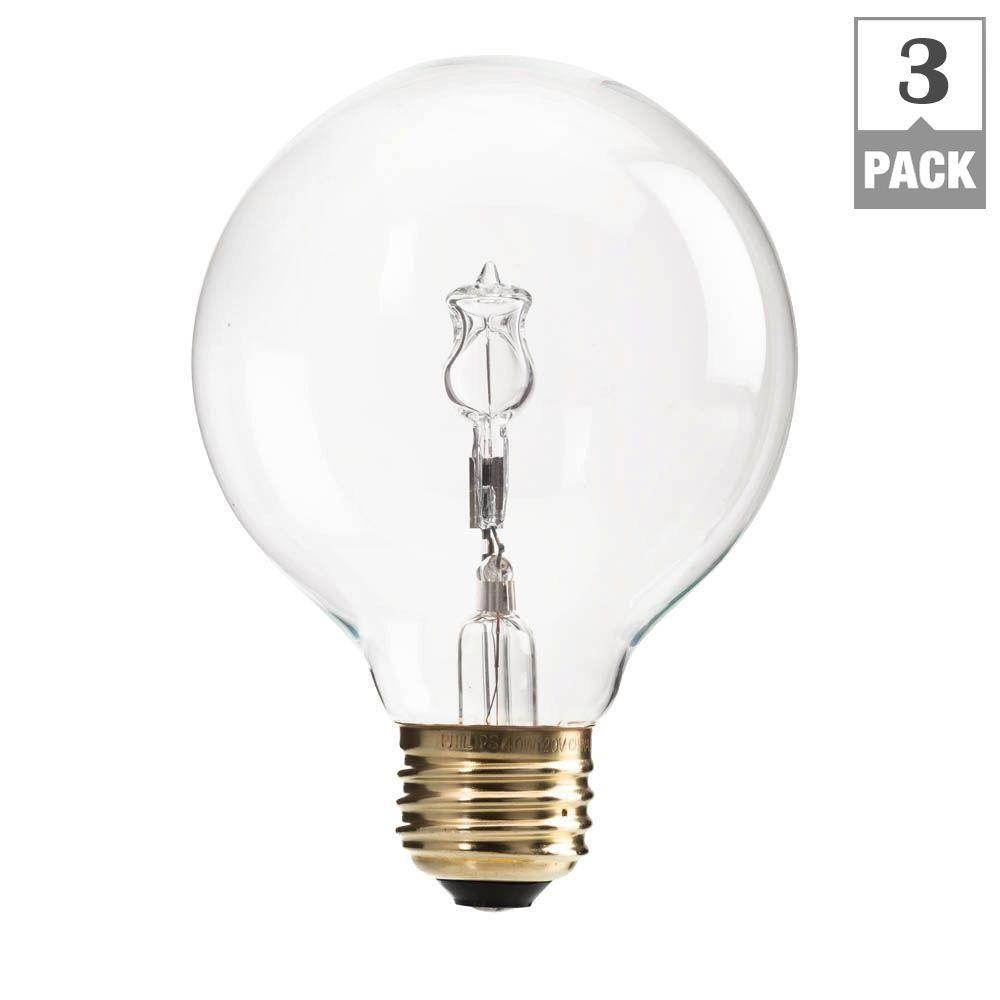philips 40 watt halogen g25 clear decorative globe light bulb 3 pack 433680 the home depot. Black Bedroom Furniture Sets. Home Design Ideas