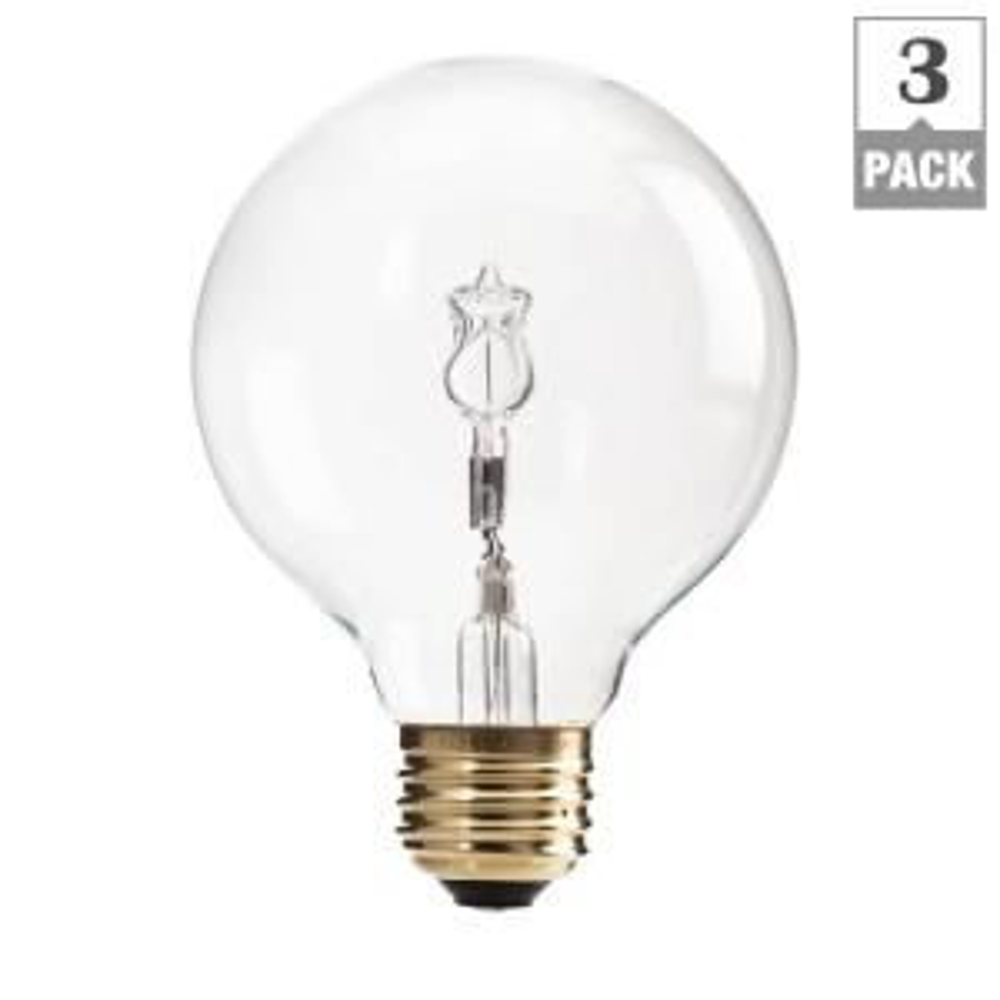 3-Pack Philips 40-Watt G25 Halogen Clear Decorative Globe Light Bulb