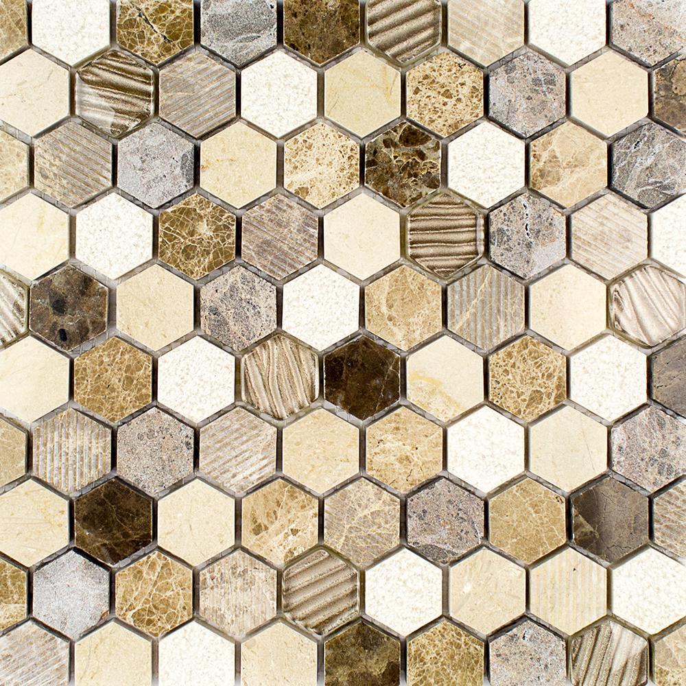Splashback Tile Drumlin Win Drift Hexagon 11.25 in. x 10.87 in. x 8mm Honed Marble and Glass Mosaic Tile