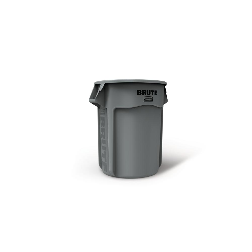 Brute 55 Gal. Gray Round Vented Trash Can with Lid