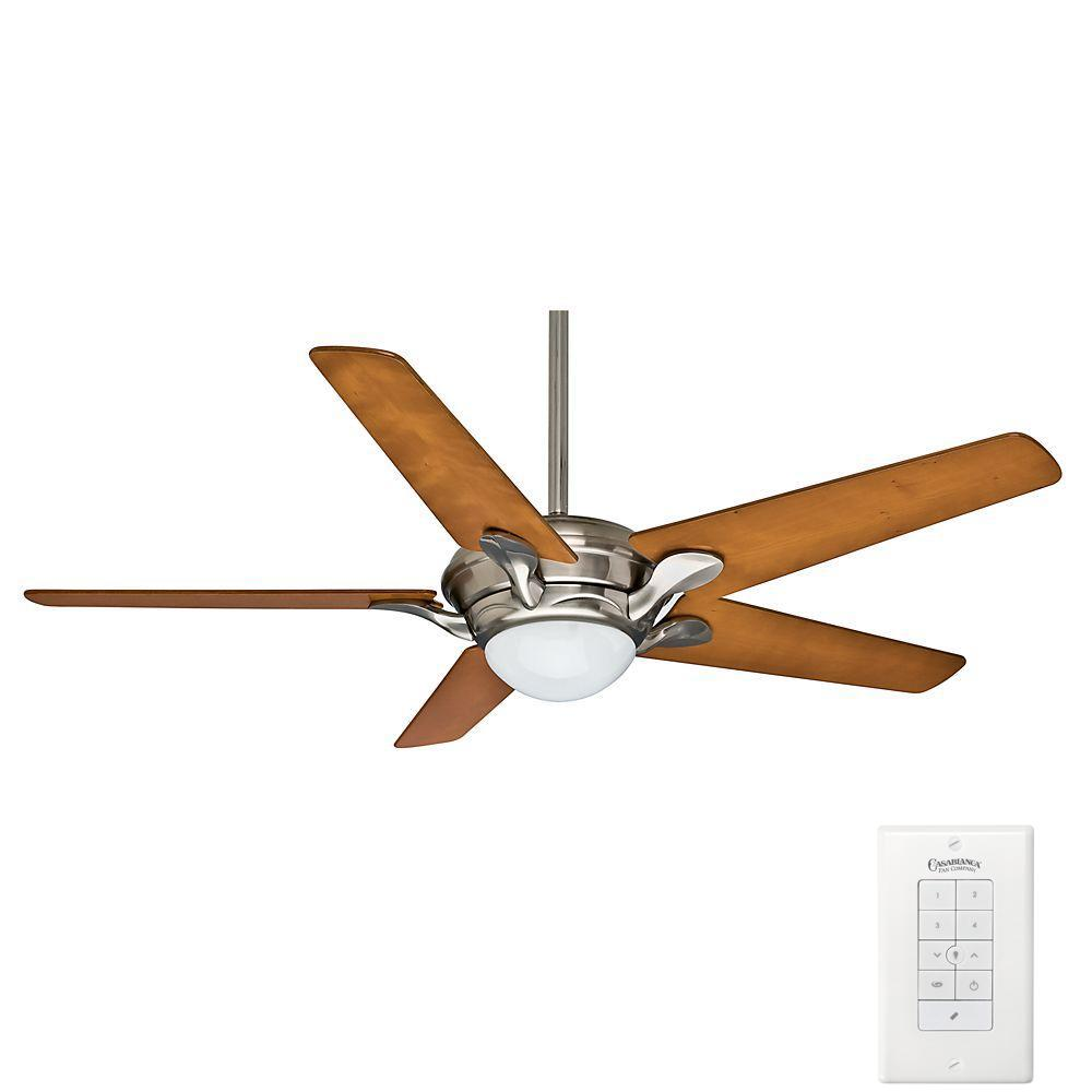 Casablanca Bel Air 56 in. Indoor Brushed Nickel Ceiling Fan with Universal Wall Control