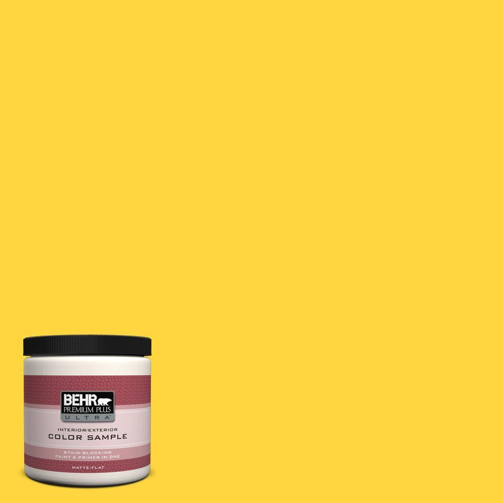 BEHR Premium Plus Ultra 8 oz. #380B-6 Lemon Tart Flat Interior/Exterior Paint and Primer in One Sample