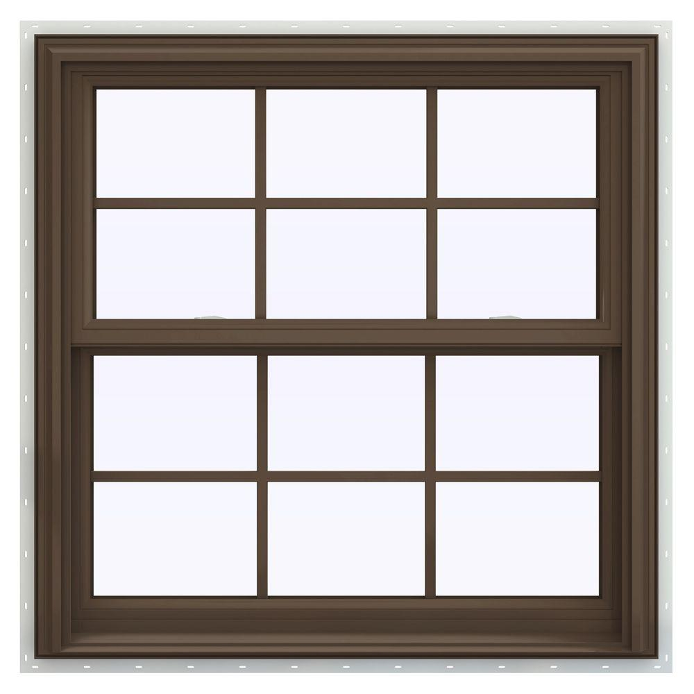 JELD-WEN 35.5 in. x 40.5 in. V-2500 Series Double Hung Vinyl Window with Grids - Brown