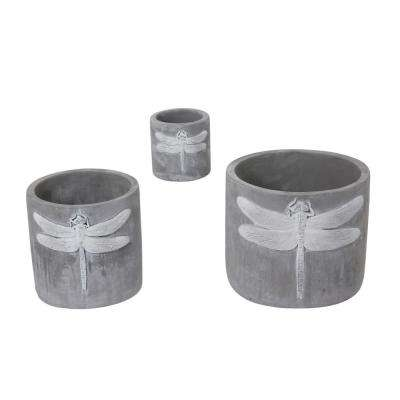 7.1 in. x 6 in. Grey Cement Planters with Dragonfly Accent (3-Set)