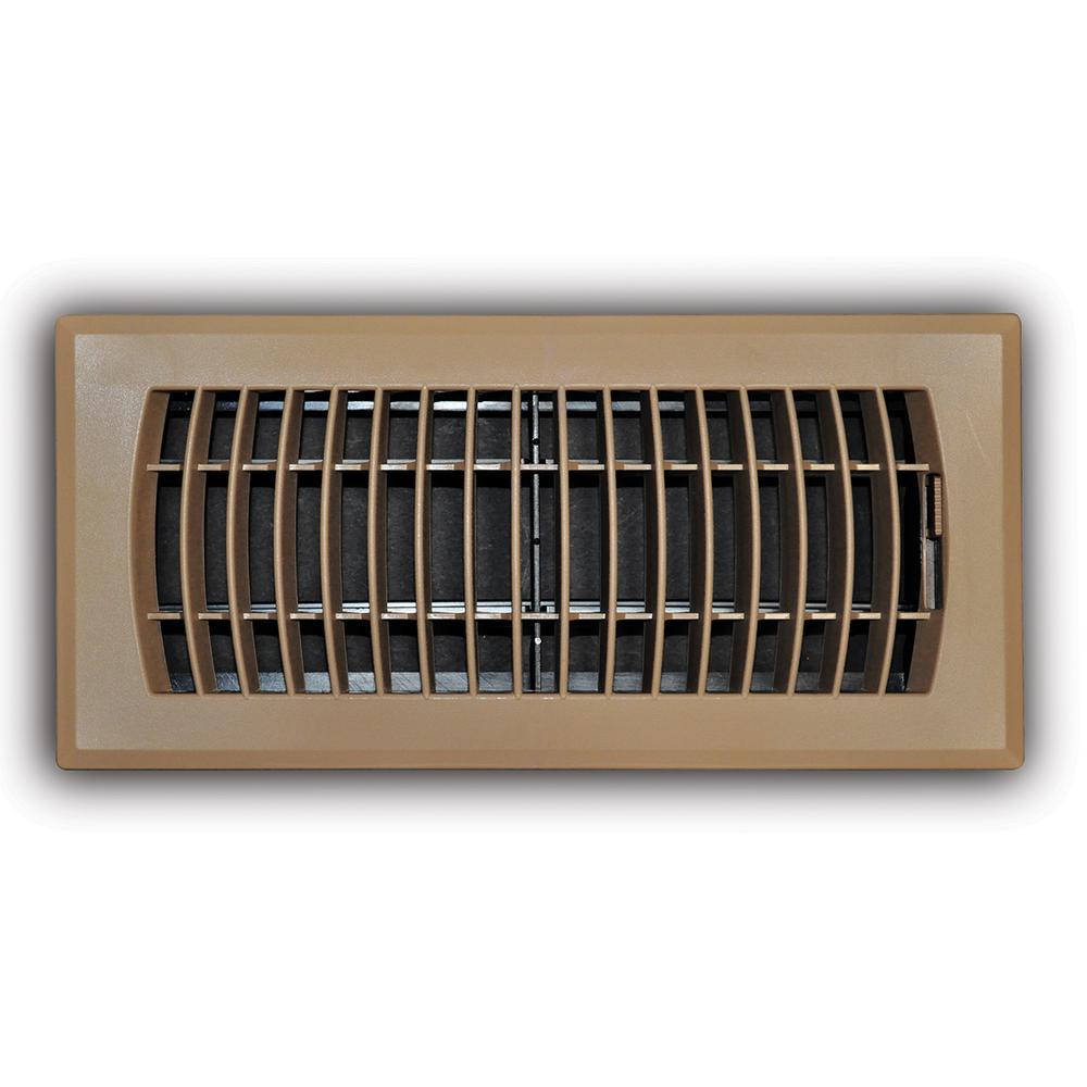 Everbilt 4 In X 10 In Brown Plastic Floor Register