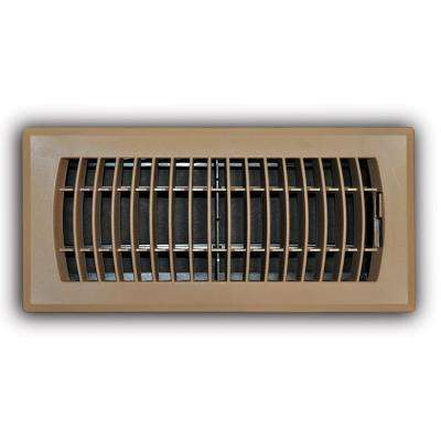 4 in. x 10 in. Brown Plastic Floor Register