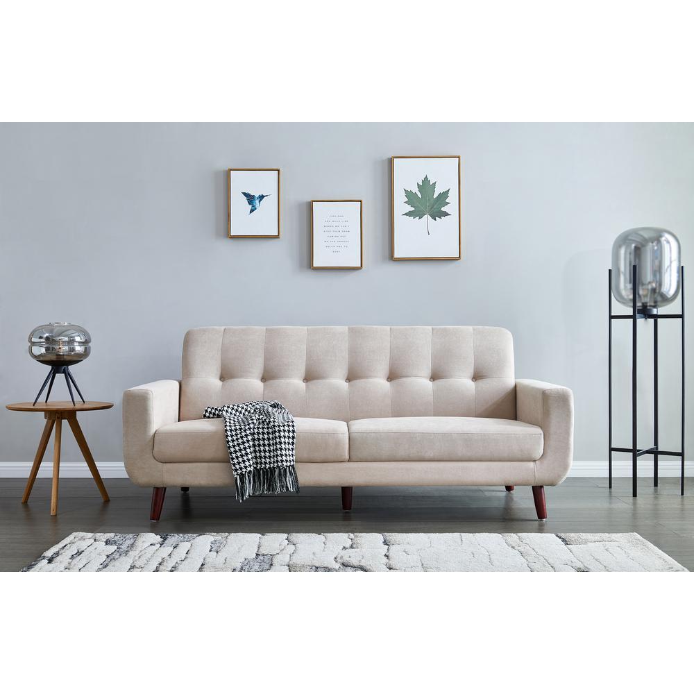 Beige Mid-Century Modern Fabric Sofa